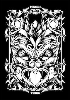 Ilustração tribal de máscara maori