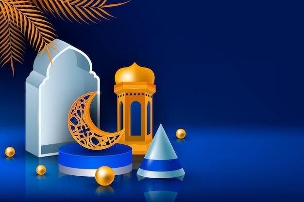 Ilustração tridimensional realista do ramadan kareem