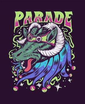 Ilustração trippy desfile de cabras