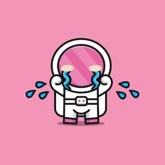 Ilustração triste astronauta fofa