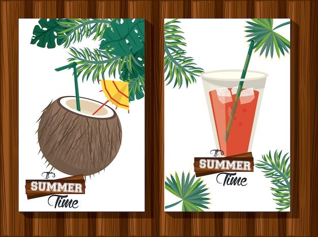 Ilustração tropical de horário de verão