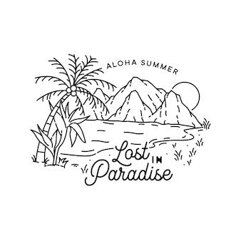 Ilustração tropical monoline com elemento ao ar livre