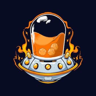 Ilustração ufo e suco de laranja