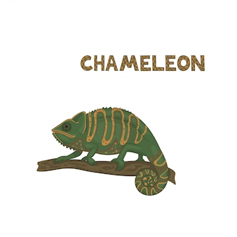 Ilustração, um camaleão de desenho animado verde com tiras de laranja e pontos marrons com cauda rodada, sentado em um galho