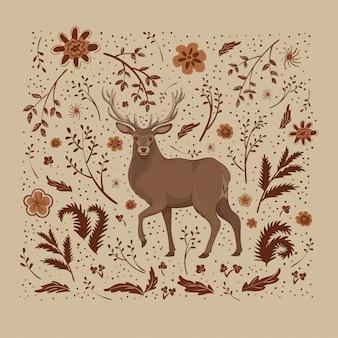 Ilustração, um cervo dos desenhos animados com chifres longos, com flores marrons e alaranjadas, folhas e manchas.