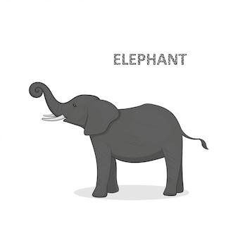 Ilustração, um elefante cinza dos desenhos animados