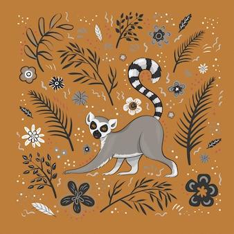 Ilustração, um lêmure bonito dos desenhos animados em um fundo laranja com flores, folhas e manchas