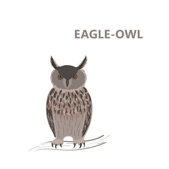 Ilustração, uma coruja de águia marrom bonito dos desenhos animados com o olhar sem piscar, sentado em um galho.