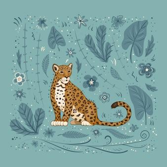 Ilustração, uma onça-pintada dos desenhos animados, sobre um fundo azul com flores, folhas e manchas.