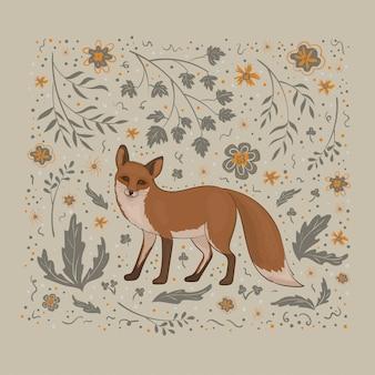 Ilustração, uma raposa com flores cinza e laranja, folhas, galhos e manchas