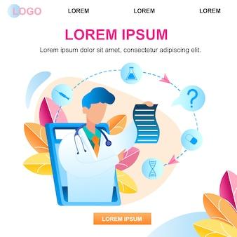 Ilustração usando a consulta de tablet com médico