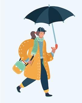 Ilustração vecetor de uma linda garota andando na chuva com um guarda-chuva nuvem e poça
