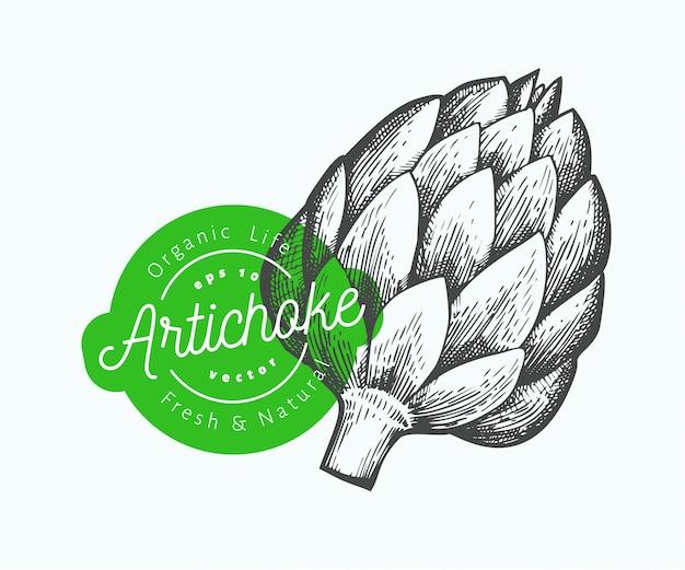 Ilustração vegetal de alcachofra.