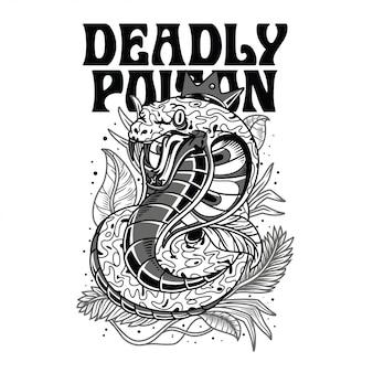 Ilustração venenosa mortal preto e branco