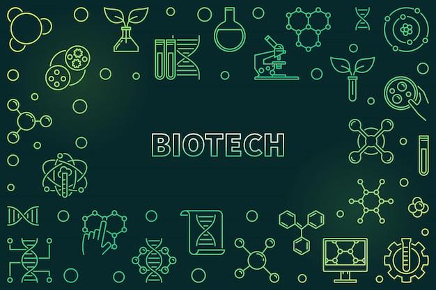 Ilustração verde de conceito de biotecnologia em estilo de linha fina