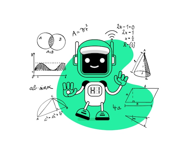 Ilustração verde de um robô e fórmulas matemáticas.