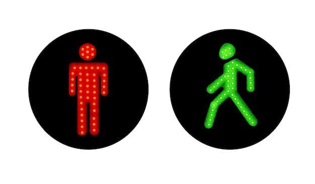 Ilustração vermelha e verde dos semáforos de pedestres no fundo branco