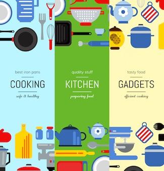 Ilustração vertical das bandeiras da web dos utensílios lisos da cozinha do estilo. banner colorido ou cartaz do conjunto