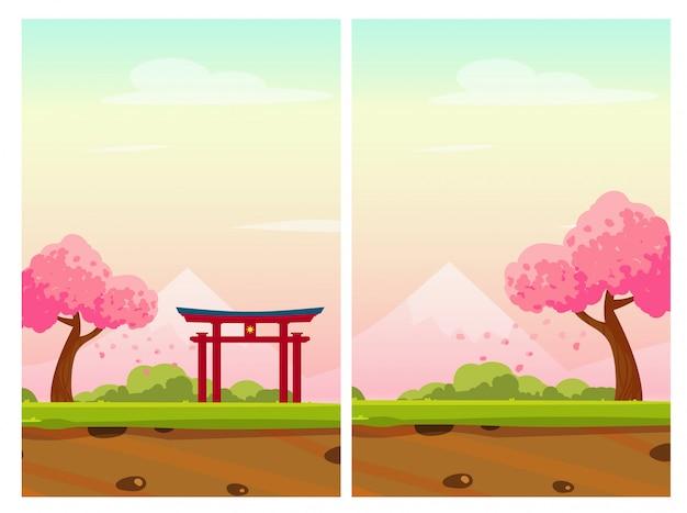 Ilustração vertical do japão com árvore de sakura, montanha e arco