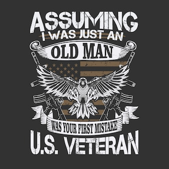 Ilustração veterano americano oldman