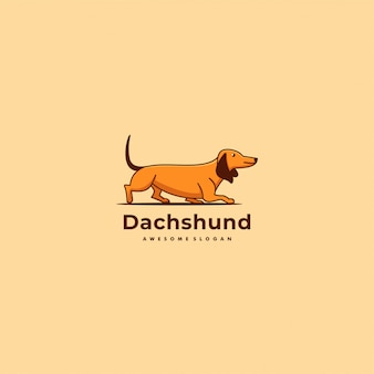 Ilustração vetor logotipo dachshund mascote simples linha estilo arte