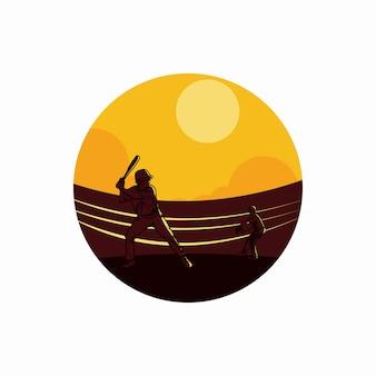 Ilustração vetorial 2 jogador de beisebol jogando beisebol em ilustração plana de campo