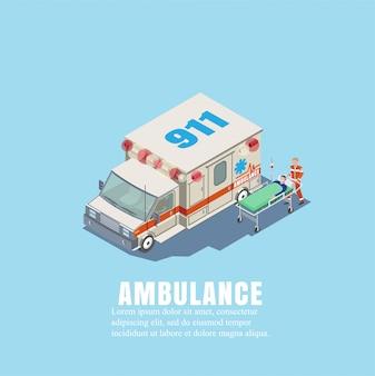 Ilustração vetorial ambulância com médico e paciente em maca em isotermometria. o conceito de seguro e saúde das pessoas. a primeira ajuda médica.