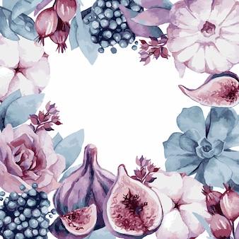Ilustração vetorial, aquarela bouquet com folhas tropicais e flores