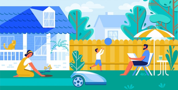 Ilustração vetorial automated lawn mower cartoon.
