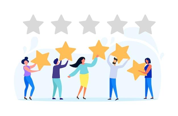Ilustração vetorial avaliação das avaliações do cliente diferentes pessoas dão uma avaliação da avaliação e comentários