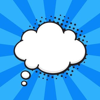 Ilustração vetorial balão de quadrinhos em forma de nuvem de pensamentos no estilo pop art