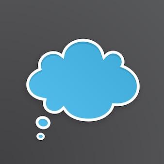 Ilustração vetorial balão em quadrinhos azul para pensamentos em forma de nuvem com contorno branco