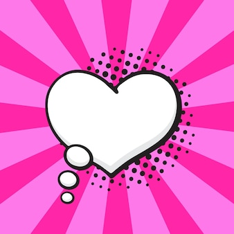 Ilustração vetorial balão em quadrinhos de pensamentos em forma de coração no estilo pop art