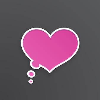 Ilustração vetorial balão em quadrinhos rosa para pensamentos em forma de coração com contorno branco
