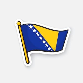 Ilustração vetorial bandeira nacional da bósnia e herzegovina no mastro de bandeira