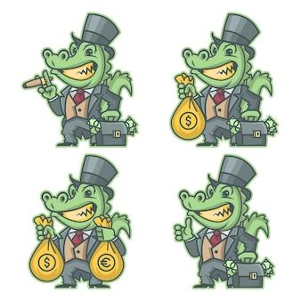 Ilustração vetorial, banqueiro milionário de crocodilo, formato eps 10