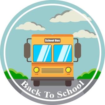 Ilustração vetorial bem-vindo de volta à escola no ônibus
