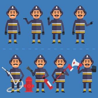 Ilustração vetorial, bombeiro em várias poses, formato eps 10.