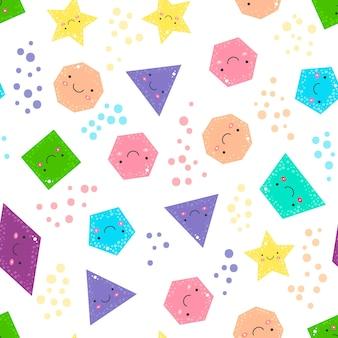 Ilustração vetorial. bonitas figuras geométricas de padrão sem emenda para crianças. formas isoladas e círculos de cores em fundo branco para crianças.