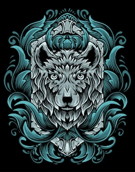 Ilustração vetorial cabeça de lobo com ornamento de gravura vintage.