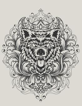Ilustração vetorial cabeça de lobo zangado com ornamento antigo