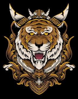 Ilustração vetorial cabeça de tigre com ornamento de gravura vintage.