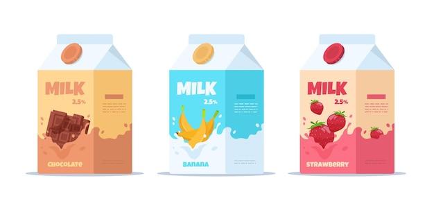 Ilustração vetorial caixas de papelão de morango com chocolate e banana leite pacote de leite. leite doce com sabores diferentes, embalagens de desenho animado com laticínios para crianças