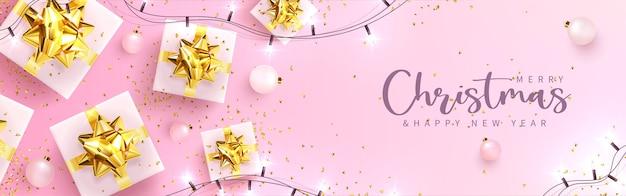 Ilustração vetorial cartão festivo com ano novo e feliz natal, com presentes, balões, festão e confetes.