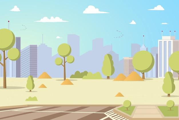 Ilustração vetorial cartoon city park panoramas