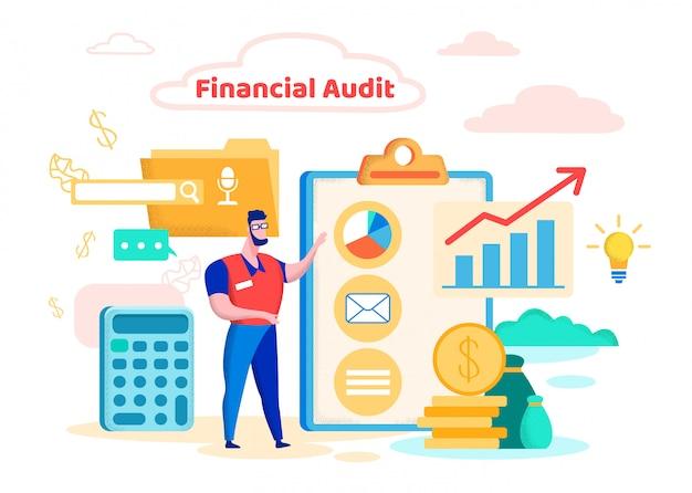 Ilustração vetorial cartoon de auditoria financeira plana.
