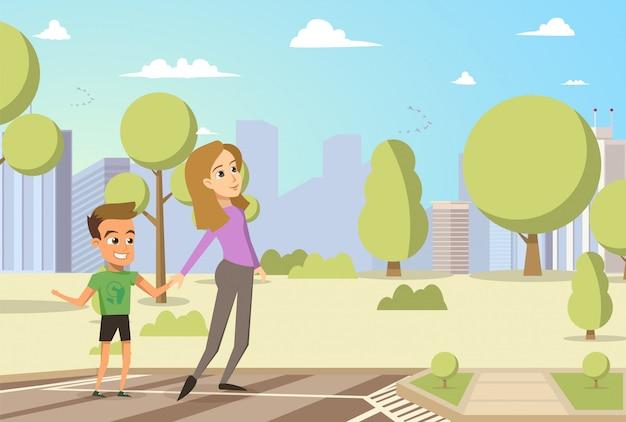 Ilustração vetorial cartoon garotinho e mulher