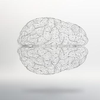 Ilustração vetorial cérebro humano fundo abstrato do vetor estilo do projeto poligonal