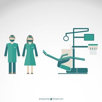 Ilustração vetorial clínica dentista