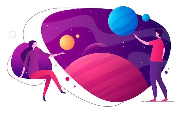 Ilustração vetorial colorida sobre o tema espaço